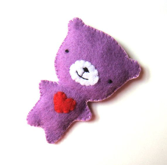Purple Teddy Bear Felt Brooch by MiKa Art