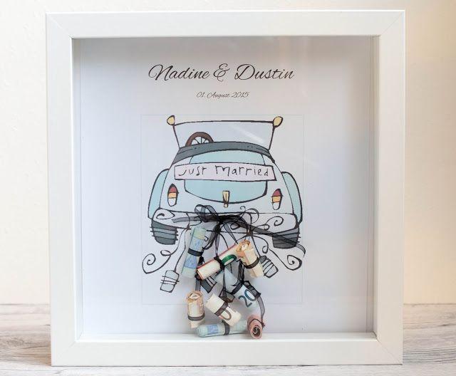 Svatební dar peníze, peníze dárek pro svatby, rám obrazu, Car, Car, jen si vzal, krabic, peníze, dráteník, udělej si sám