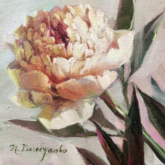 White Peony Art Painting Original 6x6 Unique Flower Gift For Mom Pale White Peony Wall Art Framed Peony Painting Flower Painting Floral Painting