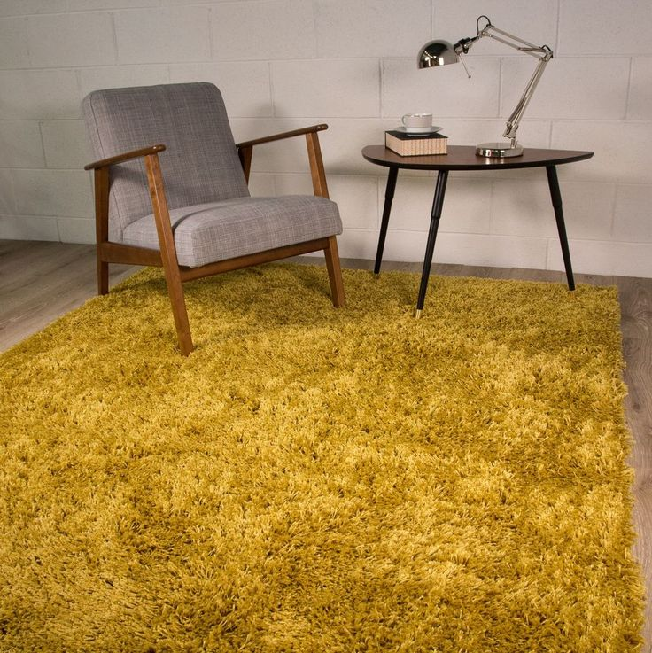 SMALL X LARGE SIZE THICK PLAIN OCHRE YELLOW SOFT SHAGGY RUG NON SHED 5cm PILE