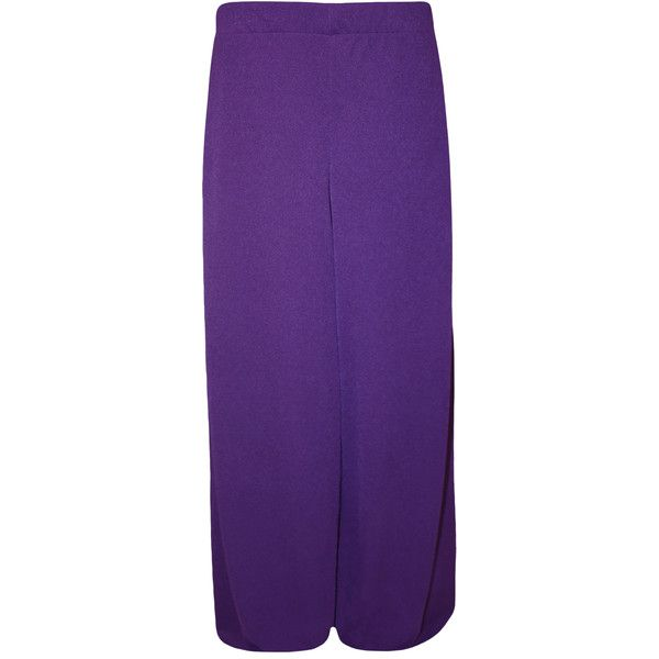 WearAll Plus Size Plain Palazzo Trousers ($25) ❤ liked on Polyvore featuring pants, purple, plus size wide leg pants, plus size wide leg trousers, palazzo pants, relaxed fit pants and plus size palazzo pants