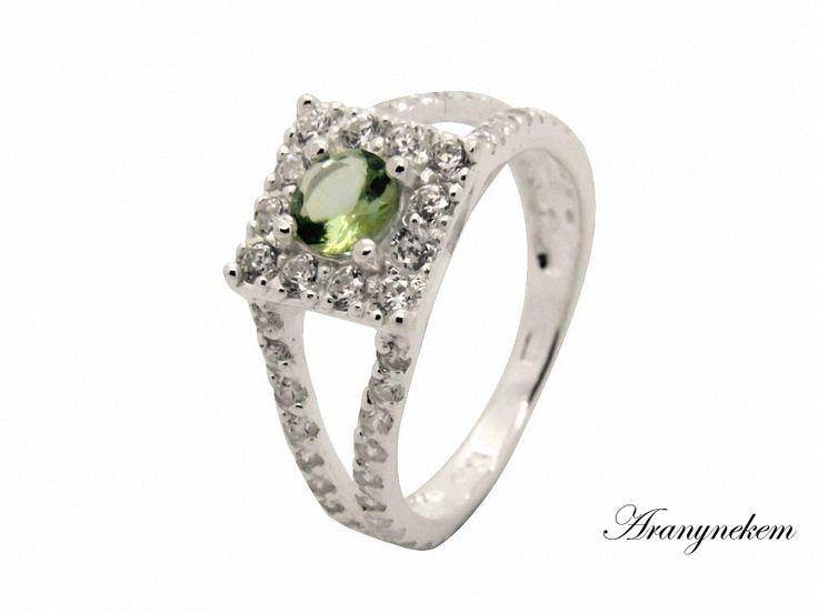 Fehér és zöld cirkónia köves ezüst gyűrű