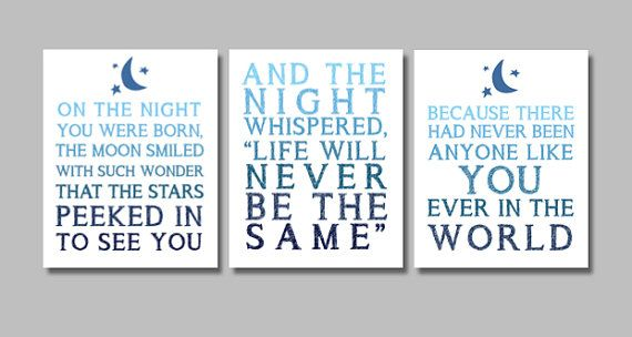 On The Night You Were Born - Nancy Tillman - Triptych Nursery Art Prints