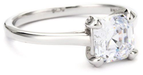 """Myia Passiello """"Essentials"""" Swarovski Zirconia Asscher Cut Solitaire Ring Myia Passiello. $49.99. The finest simulated diamond in the world. Made in China. Meticulous fine jewelry craftsmanship. 2.00 carat cut to ideal cut diamond proportions. Made with Swarovski pure brilliance zirconia"""