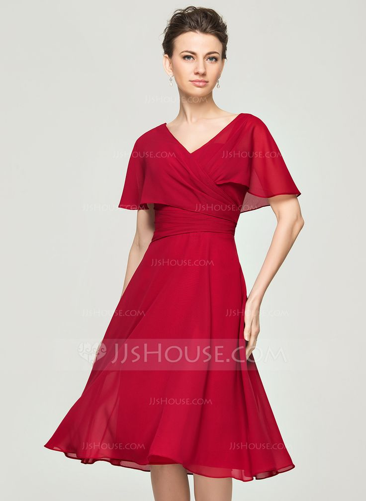 A-Line/Princess V-neck Knee-Length Ruffle Zipper Up Sleeves Short Sleeves No 2015 Burgundy Spring Summer Fall General Plus Chiffon Mother of the Bride Dress