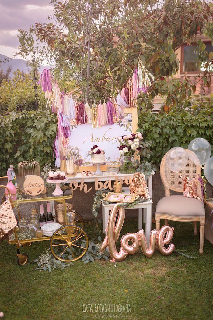 Burgundy, Blush & Gold Boho Baby Shower on Kara's Party Ideas | KarasPartyIdeas.com (9)