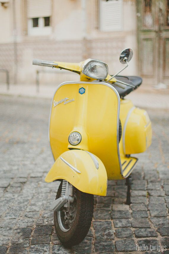 Yellow Vespa Photo, Piaggio Vespa, Retro Hipster Style, Nursery Room Decor, Yellow Wall Decor, Vintage Style, Piaggio Scooter, Pastel Decor by hellotwiggs on Etsy https://www.etsy.com/listing/154237683/yellow-vespa-photo-piaggio-vespa-retro