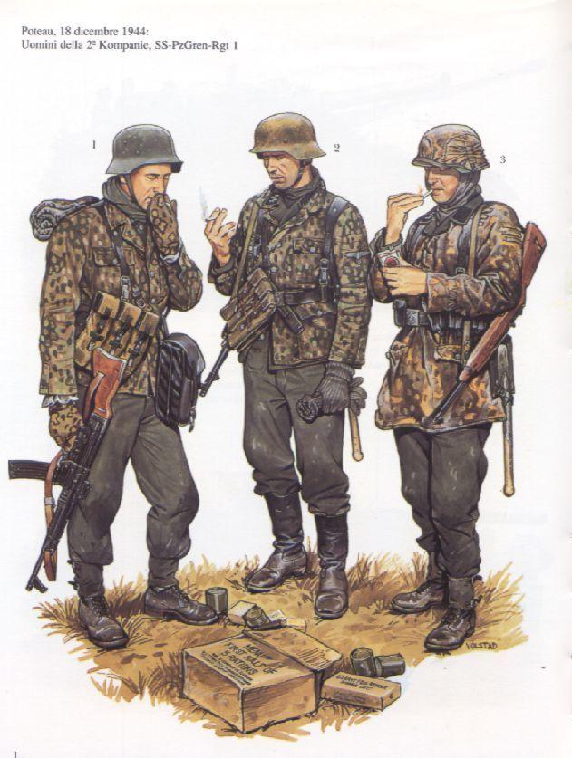 Waffen SS - Uomini della 2. Kompanie, 1° SS PanzerGrenadieren Regiment, Poteau, 18 dicembre 1944