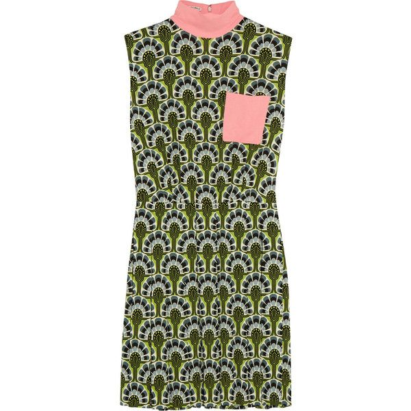 Miu Miu Printed crepe mini dress (€2.000) via Polyvore featuring dresses, short peacock dress, peacock dress, mirror print dress, turtleneck dress and mini dress