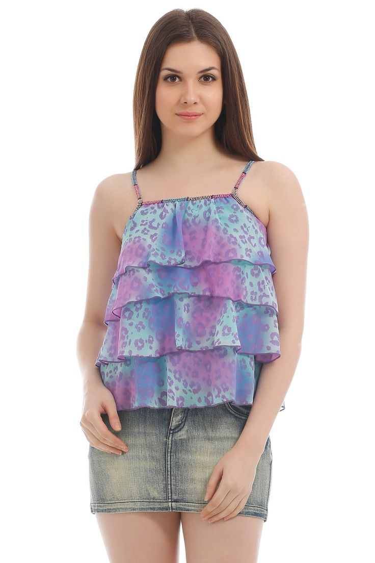 sleeveless top with frills. light color which makes it perfect for summers