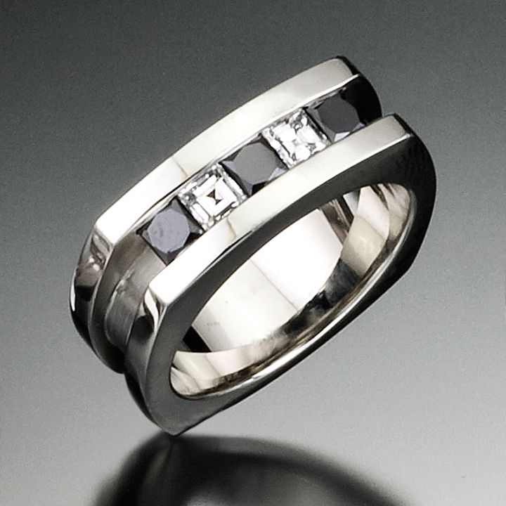Blanco Y Negro Ring With Diamonds Gay Wedding RingsBlack Diamond RingsMens