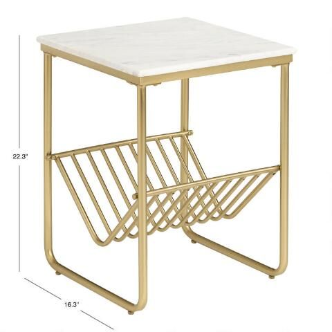 Best White Marble And Gold Metal Waylon Accent Table With Rack 400 x 300