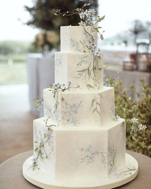 handbemalte 4-stufige Hochzeitstorte #Hochzeit #Hochzeiten #Hochzeitsideen #Grünhochzeit …   – Hochzeit