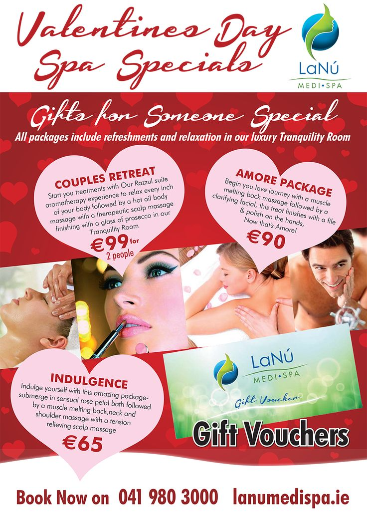 Get yourself ready for #ValentinesDay with our Spa Specials or enjoy a truly romantic spa treat with your special person in our luxury and warm welcoming environment at LaNu Medi Spa Drogheda. If you are looking for perfect Valentine Gift then, purchase a gift voucher for any of our day spa treatments. Be pampered and indulged together with our special packages including Couples Retreat, Amore Package or Indulgence. Contact us today to reserve your booking or to purchase gift voucher.