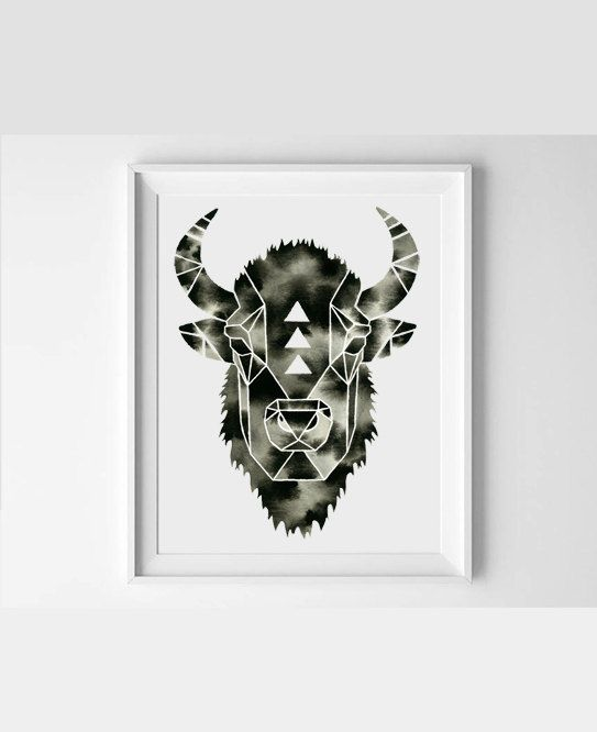 Watercolor Bison Painting Buffalo Art Geometric Woodland ...