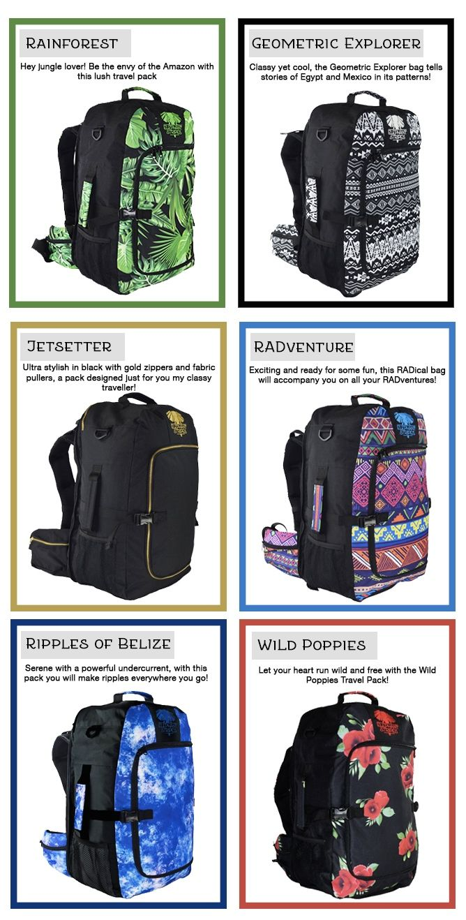 You'll never have to choose between style and practicality again! Elephant Stripes Travel Packs have it all!
