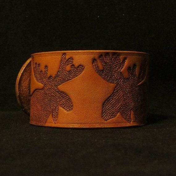 Leather Reindeer Bracelet by MishasTooledLeather on Etsy