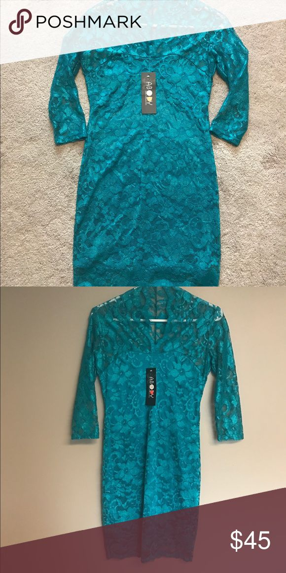 Lace Dress Very cute turquoise lace dress, xs (dress size 2). Never worn, new with tags. Runs a little big for an xs. I thought this would be closer to a size 0, but size 2 is more accurate for this Dress. Has built in under skirt. abody Dresses Long Sleeve