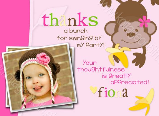 Coordinating Thank You Card to Go Bananas Girlfriend Jungle – Birthday Thank You Photo Cards