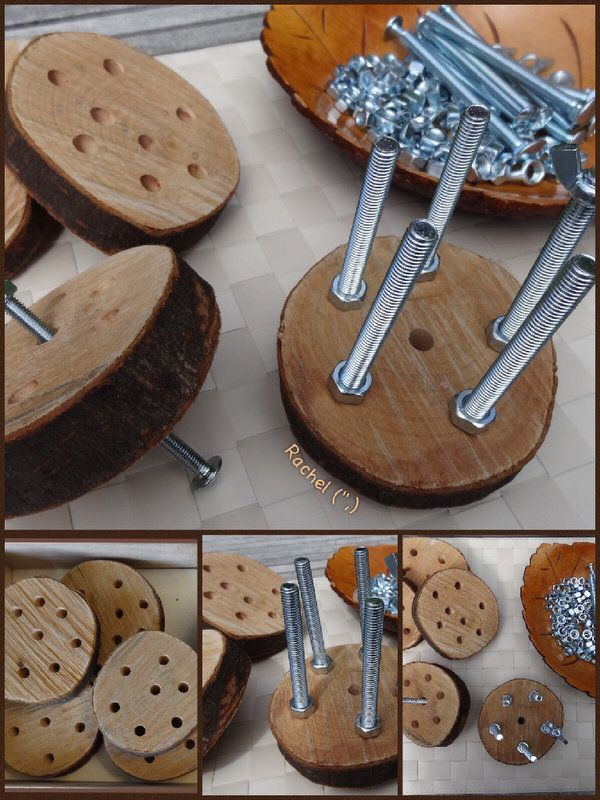 "Using the wooden sewing discs with nuts and bolts - from Rachel ("",)"