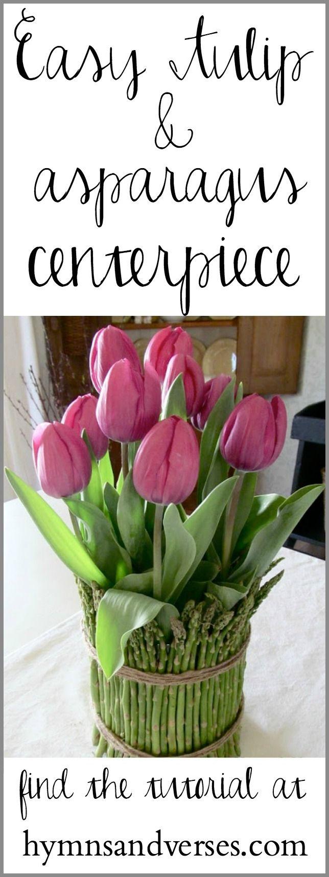 Tulip and Asparagus Centerpiece