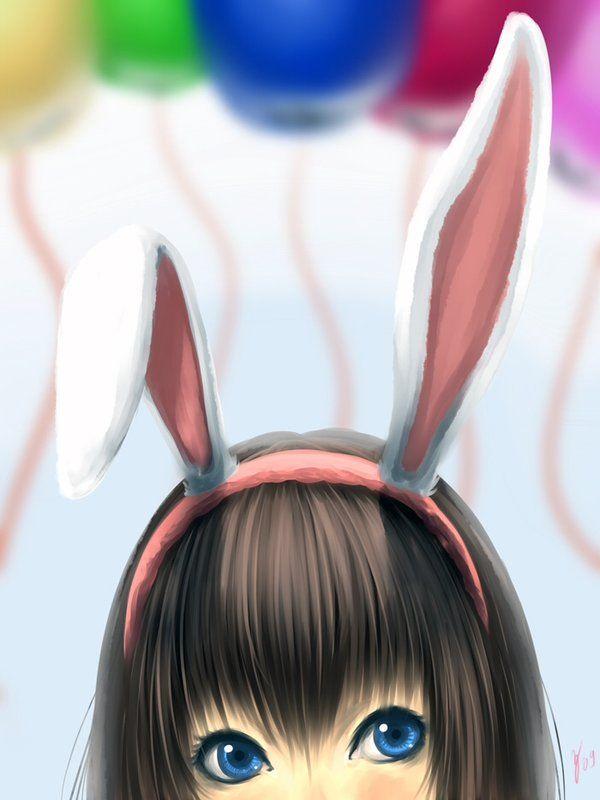 Cute Anime Rabbit anime, bunny ears, cut...
