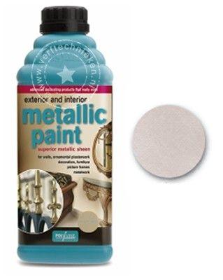 Polyvine metallic effect verf - Zilver € 29,95 500 ml - voor ca 4 m2 Metaal glansverf van Polyvine, geschikt voor binnen en buiten.