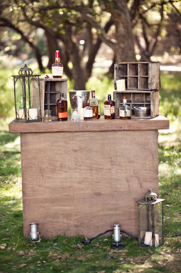 rustic and masculine whiskey serving tableHeather Kincaid, S'More Bar, S'Mores Bar, Wine Barrels, Whiskey Bar, Taste Bar, Whiskey Taste, Outdoor Bar, Events Plans