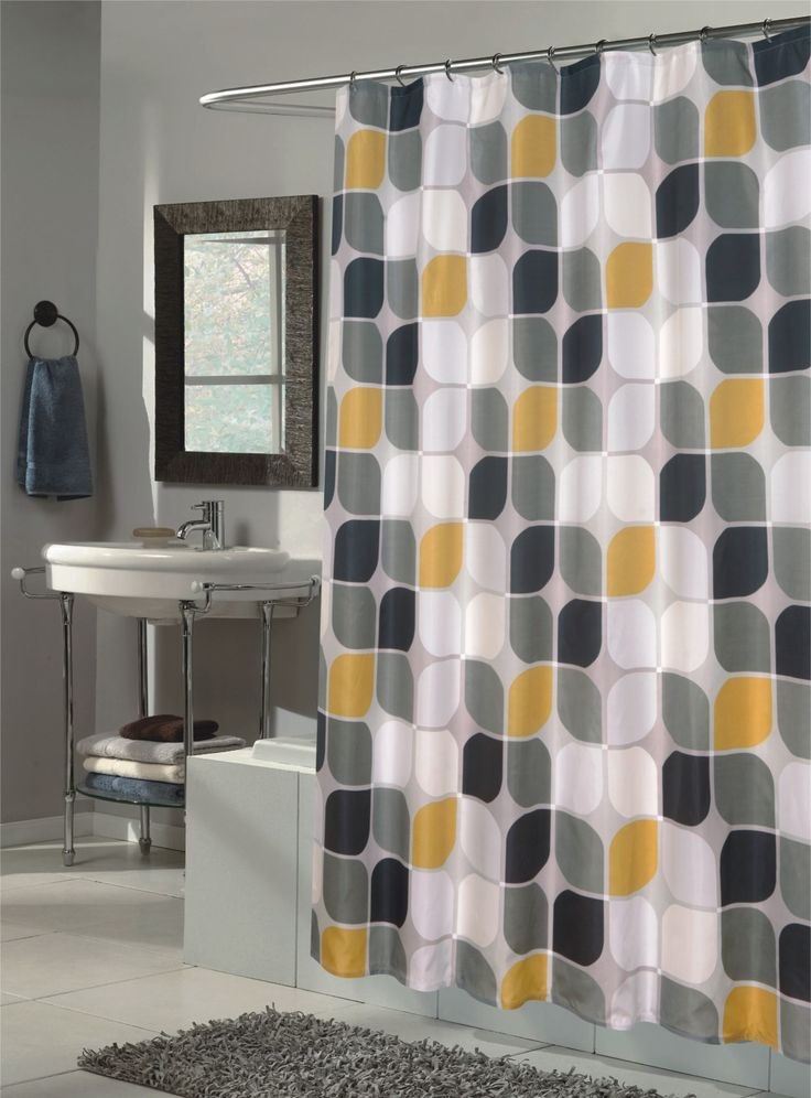 retro 50s mid century ... - Mod Shower Curtain Mod Square Fabric Shower Curtain Brown In