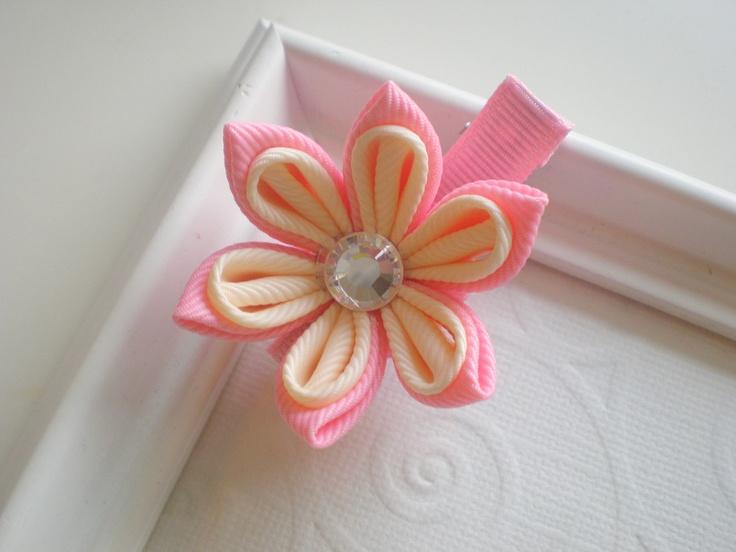 Pink and Cream Buttercup Kanzashi Flower Hair by CCsChicBowtique, $10.00   #Etsy #kanzashi #hairclip