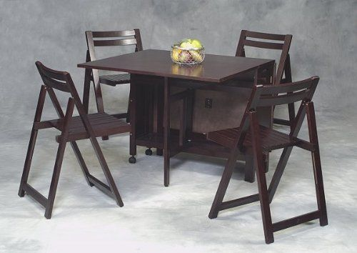 Space Saver 5 Piece Table And Chair Set: Linon 5 Piece Space Saver,Linon 5 Piece Space Saver Dining Set in Espresso by Linon. $309.00
