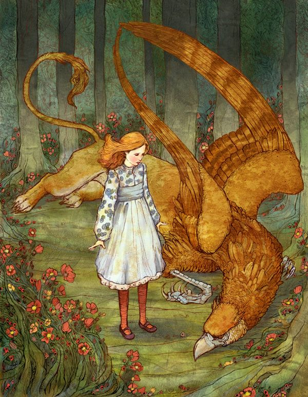 Russian fairy tale art. Illustration by Erin Kelso  (hello gryphon. you are half-bird. and so big.)