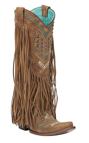Corral Women's Vintage Honey w/ Embroidery Studs & Fringe Toe Western Boot | Cavender's