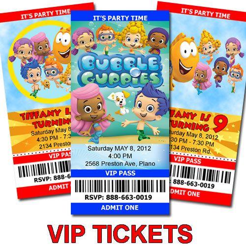 Bubble Guppies Birthday Ticket Invitations