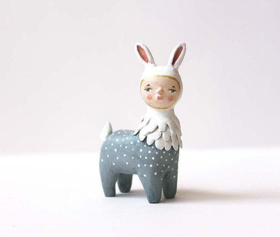 Fantasy animal figurine - Hand sculpted, one of a kind quirky small sculpture - Bunnyraffe