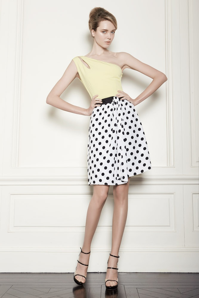 Dots, dots, dots and a lime top: one schoulder silk dress.