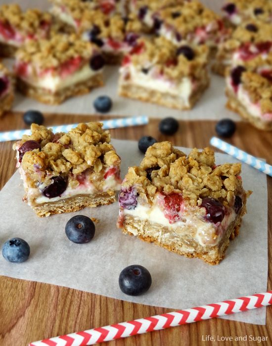 Strawberry and Blueberry Oatmeal Cheesecake Cookie Bars