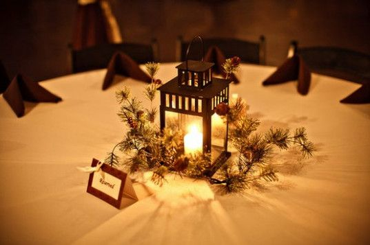 Winter Rustic Wedding Ideas Center Pieces Mountains Winter