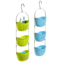 Shower caddies can be used to organize and store so many things in the kitchen (the holes allow produce to breathe), in the pantry, for accessories in closets, for makeup and toiletries, for crafts...  The more open, wire types can hold rolls of giftwrap, tape, ribbon...