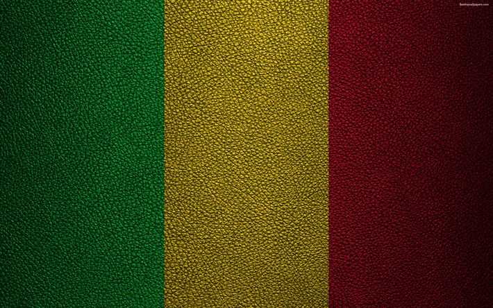 Download wallpapers Flag of Mali, 4K, leather texture, Africa, Malian flag, flags of African countries, Mali