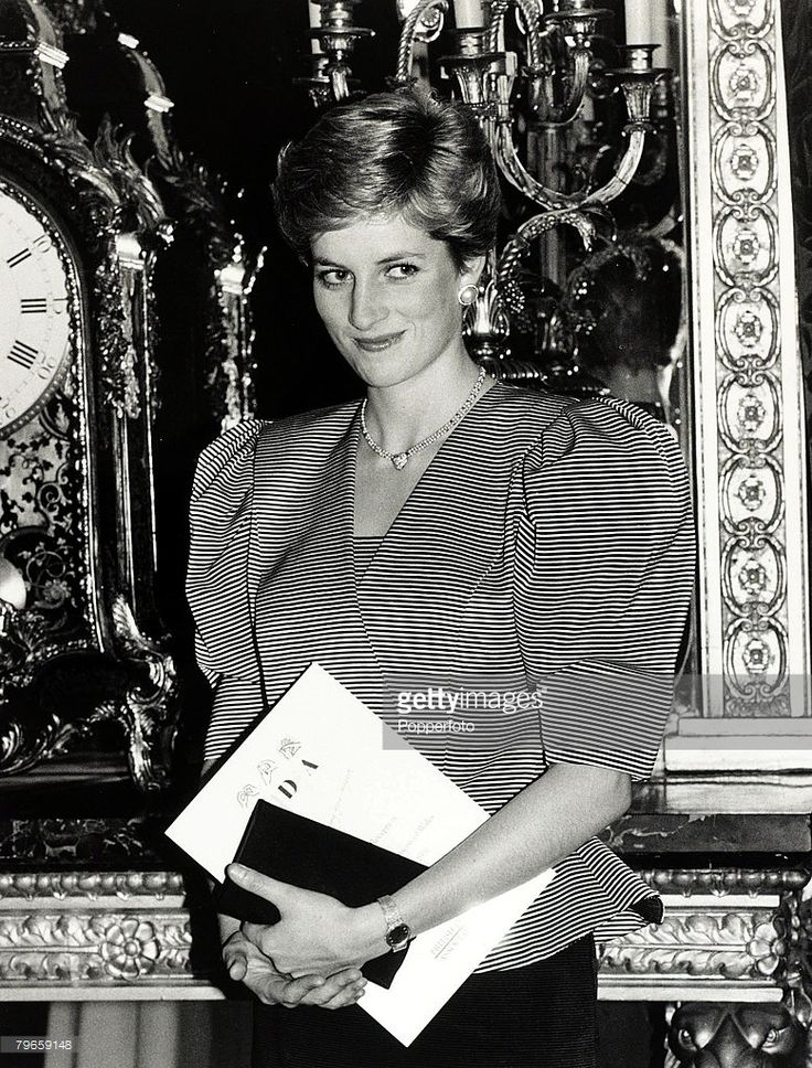 28th October 1986, Diana, Princess of Wales pictured at a charity fund raising appeal conference at St,James's Palace, London