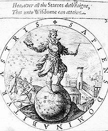"""Weisheitsemblem (1635), Ausschnitt: SAPIENS DOMINABITUR ASTRIS. Der Text lautet frei übersetzt: """"Wer wahre Weisheit erlangt, wird Herrscher über alle Gestirne sein."""""""
