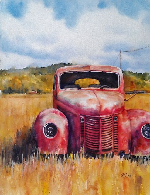 watercolor tutorial of an old truck by Artstrings Gallery