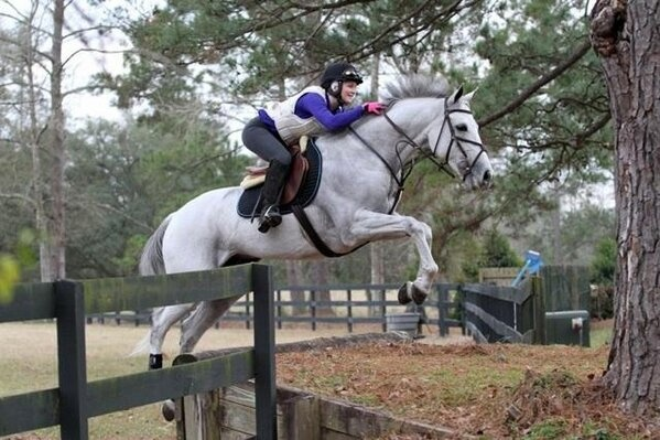 Check out this photo of top jockey Rosie Napravnik taking her off-the-track Thoroughbred Sugar over a cross country jump. Is there nothing she can't do? Go Rosie go!