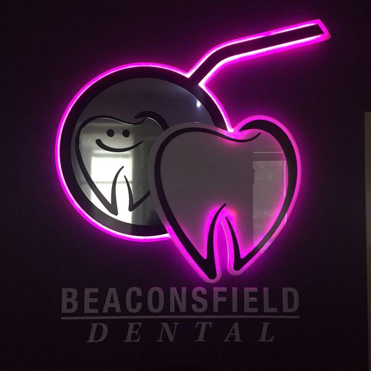Beaconsfield Dental's cool LED reception logo.