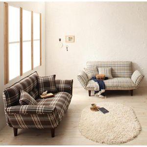 キュートなチェック柄のカウチソファ ※クッション2個付き ベージュ/ブラウン 落ち着いたいい感じですね、部屋がよっぽど個性的でない限り、ほかの家具やファブリックともケンカしないカウチソファです。