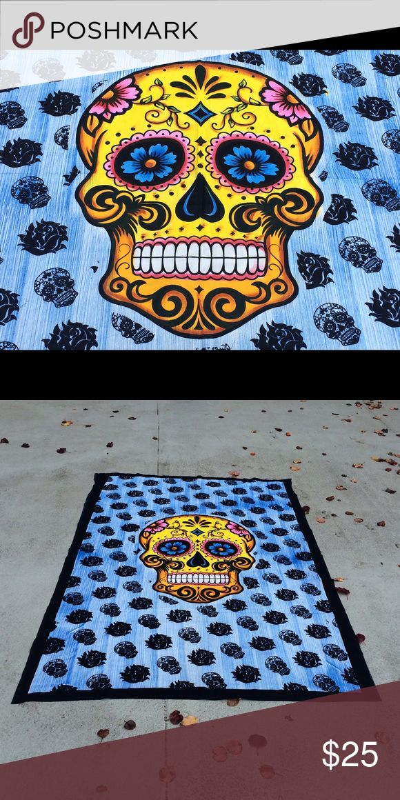 """Skull wall hanging bed floor  tapestry mandala Wall hanging Bed Couch Cover   This beautiful multi use spread is hand screen printed on cotton fabric. Can be used a bedspread, Bed Sheets, couch spread, wall hanging or celling decoration. It will look great indoor or outdoor for little picnic or tipi for sleepover parties and music festivals.  Size: 87"""" X 54"""" inch (Twin bed)  Material : 100% Cotton  Wash: Cold hand wash or Machine Delicates cycle & Air dry Other"""