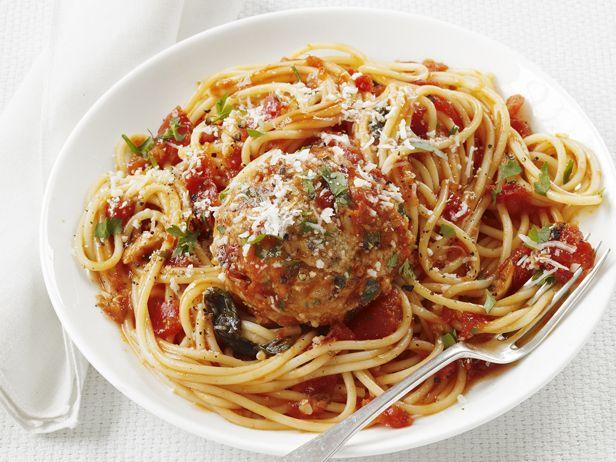 Spaghetti and Turkey Meatballs from FoodNetwork.com: Food Network, Spaghetti And Meatballs, Dinner, Network Kitchen, Turkey Meatballs, Meatballs Recipe, Meatball Recipes, Healthy Food