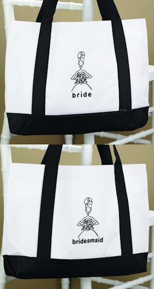 White & Black Bridal Party Totes from Wedding Favors Unlimited