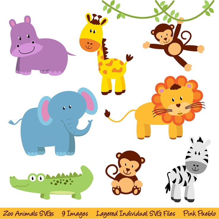 Zoo Animals SVGs, Zoo Safari Jungle Animals Cutting Templates - Commercial and Personal Use. $8.00, via Etsy.